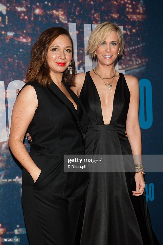 Maya Rudolph (L) and Kristen Wiig attend the SNL 40th Anniversary Celebration at Rockefeller Plaza on February 15, 2015 in New York City.