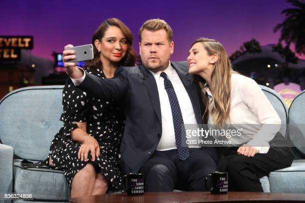 Maya Rudolph Elizabeth Olsen chat with James Corden during 'The Late Late Show with James Corden' Wednesday August 9 2017 On The CBS Television...