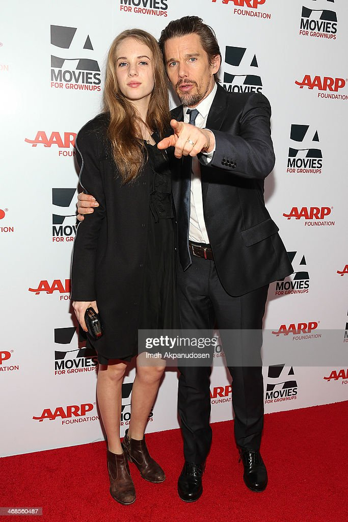 Maya Thurman-Hawke (L) and actor <a gi-track='captionPersonalityLinkClicked' href=/galleries/search?phrase=Ethan+Hawke&family=editorial&specificpeople=178274 ng-click='$event.stopPropagation()'>Ethan Hawke</a> attend the 13th Annual AARP's Movies For Grownups Awards Gala at Regent Beverly Wilshire Hotel on February 10, 2014 in Beverly Hills, California.