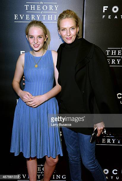 Maya ThurmanHawke and actress Uma Thurman attend 'The Theory Of Everything' New York Premiere at Museum of Modern Art on October 20 2014 in New York...