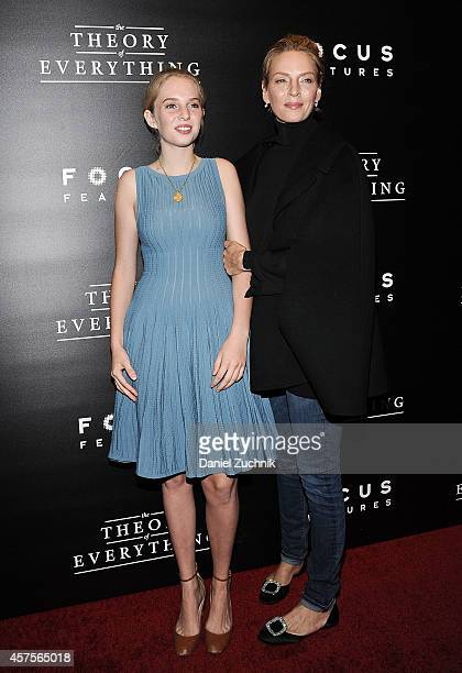 Maya ThurmanHawke and Uma Thurman attend 'The Theory of Everything' New York Premiere at Museum of Modern Art on October 20 2014 in New York City