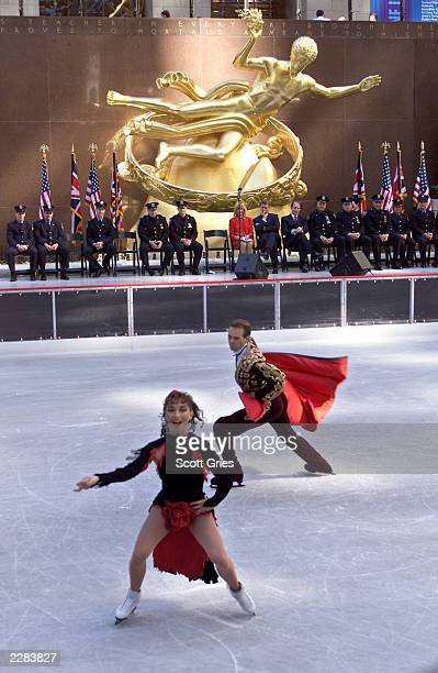 Maya Usova and Evgeny Platov skate at the 65th opening ceremony of the ice skating rink at Rockefeller Center in New York City 10/15/01 Photo by...