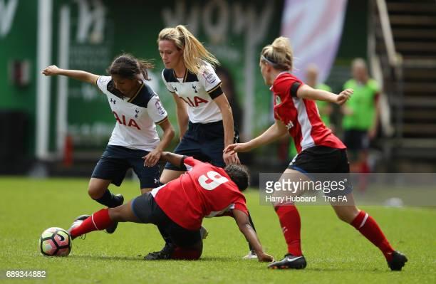 Maya Vio of Tottenham and Saffron Jordan of Blackburn in action during the FA Women's Premier League Playoff Final between Tottenham Hotspur Ladies...