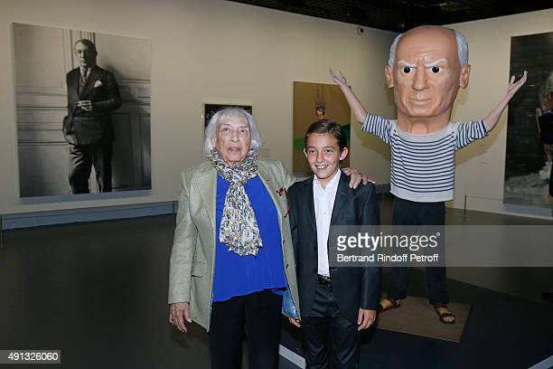 Maya Widmaier Picasso and her Grand Son Edouard Widmaier Picasso attend the 'Picasso Mania' Press Preview Held at Grand Palais on October 4 2015 in...