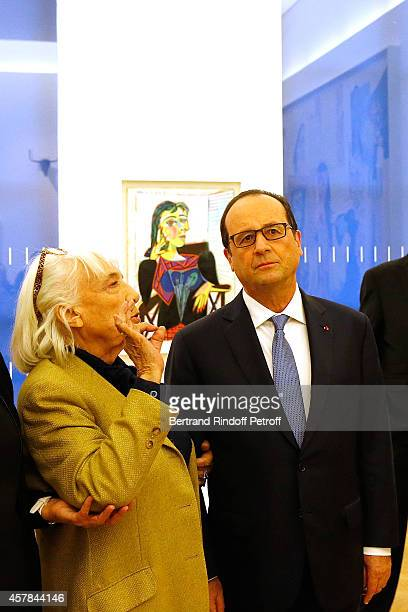 Maya Widmaier Picasso daughter of Pablo Picasso and French President Francois Hollande inaugurate the Pablo Picasso Museum the same date of Pablo...