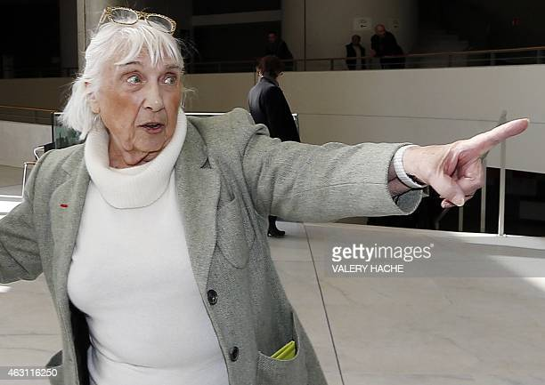 Maya WidmaierPicasso daughter of late Spanish artist Pablo Picassogestures as she arrives on February 10 2015 at the courthouse in Grasse...