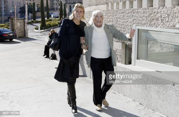 Maya WidmaierPicasso daughter of late Spanish artist Pablo Picasso and her lawyer Sabine Cordesse arrive on February 10 2015 at the courthouse in...