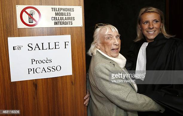 Maya WidmaierPicasso daughter of late Spanish artist Pablo Picasso and her lawyer Sabine Cordesse enter the court room at the courthouse in Grasse...