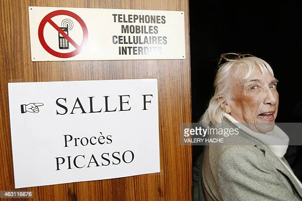 Maya WidmaierPicasso daughter of late Spanish artist Pablo Picasso enters the courtroom at the courthouse in Grasse southeastern France on February...