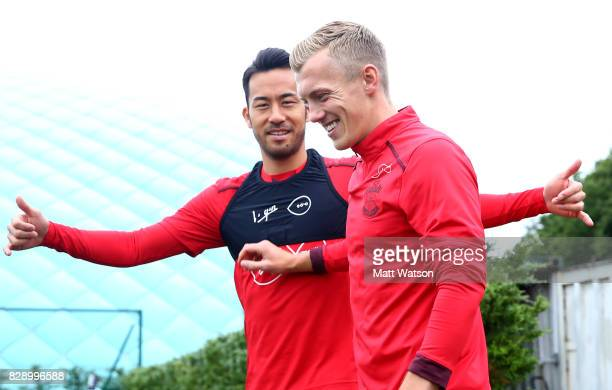 Maya Yoshida and James WardProwse during a Southampton FC training session at the Staplewood Campus on August 9 2017 in Southampton England