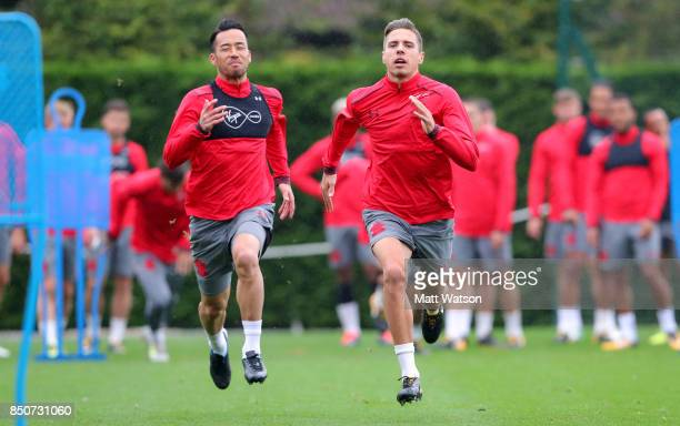 Maya Yoshida and Jan Bednarek during a Southampton FC training session at the Staplewood Campus on September 21 2017 in Southampton England
