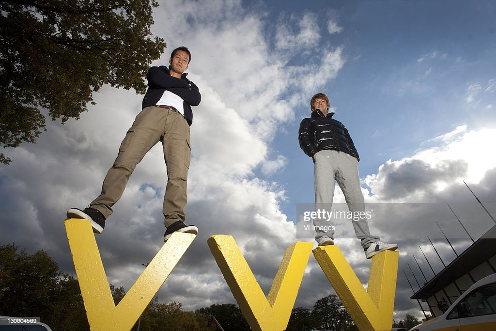 Maya Yoshida and Robert Cullen of VVV-Venlo during a photoshoot at the Seacon Stadium on October 26, 2011 in Venlo, Netherlands.