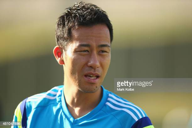 Maya Yoshida looks on during a Japan training session at the Japan national team base camp at the Spa Sport Resort on June 22 2014 in Itu Sao Paulo