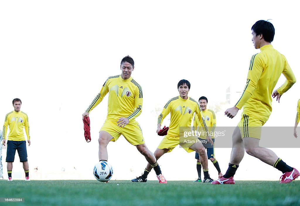 <a gi-track='captionPersonalityLinkClicked' href=/galleries/search?phrase=Maya+Yoshida&family=editorial&specificpeople=5398323 ng-click='$event.stopPropagation()'>Maya Yoshida</a> of Japan in action during the training session ahead of the World Cup qualifier against Jordan at King Abdullah International Stadium on March 25, 2013 in Amman, Jordan.