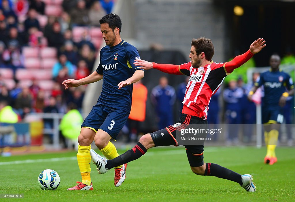 Maya Yoshida of Southampton and Danny Graham of Sunderland compete for the ball during the Barclays Premier League match between Sunderland and...