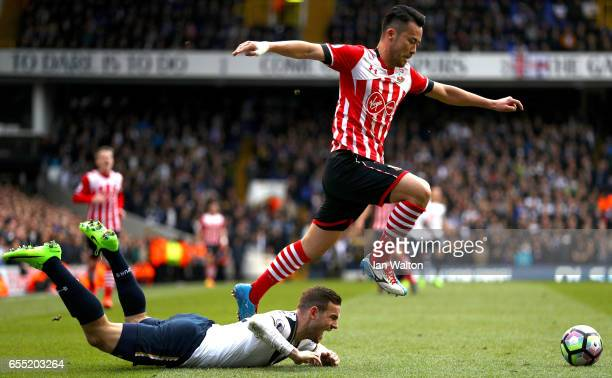 Maya Yoshida of Southampton and Vincent Janssen of Tottenham Hotspur battle for possession during the Premier League match between Tottenham Hotspur...