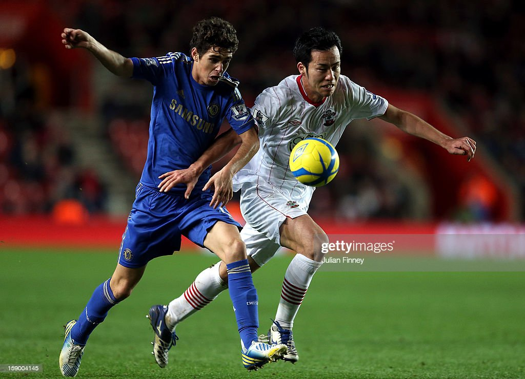 Maya Yoshida of Southampton battles with Oscar of Chelsea during the FA Cup Third Round match between Southampton and Chelsea at St Mary's Stadium on January 5, 2013 in Southampton, England.