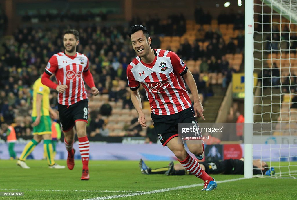 Maya Yoshida of Southampton celebrates after scoring his sides second goal during the Emirates FA Cup Third Round match between Norwich City and Southampton at Carrow Road on January 7, 2017 in Norwich, England.