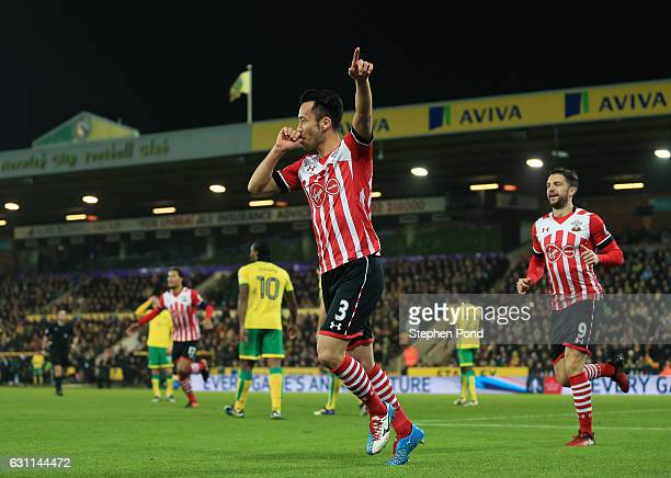 Maya Yoshida of Southampton celebrates after scoring his sides second goal during the Emirates FA Cup Third Round match between Norwich City and...