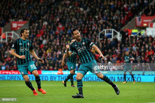 Maya Yoshida of Southampton celebrates scoring his side's first goal during the Premier League match between Stoke City and Southampton at Bet365...