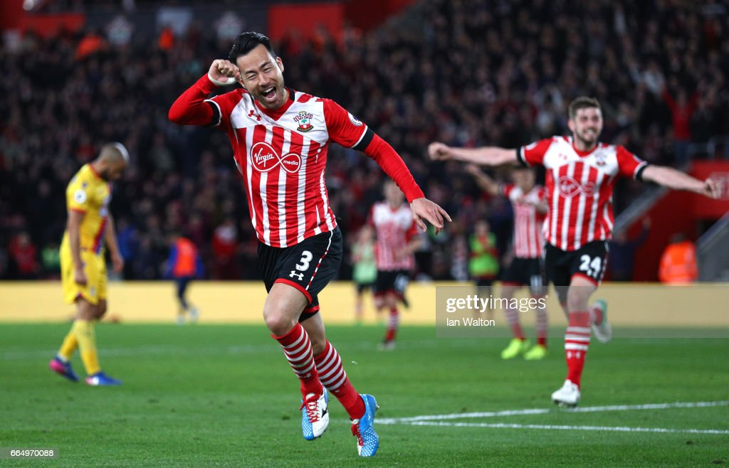 Maya Yoshida of Southampton celebrates scoring his sides second goal during the Premier League match between Southampton and Crystal Palace at St Mary's Stadium on April 5, 2017 in Southampton, England.