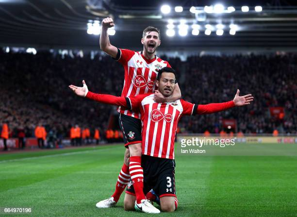 Maya Yoshida of Southampton celebrates scoring his sides second goal with Jack Stephens of Southampton during the Premier League match between...