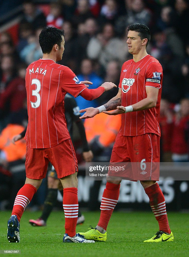 Maya Yoshida of Southampton celebrates victory with Jose Fonte of Southampton during the Barclays Premier League match between Southampton and Liverpool at St Mary's Stadium on March 16, 2013 in Southampton, England.