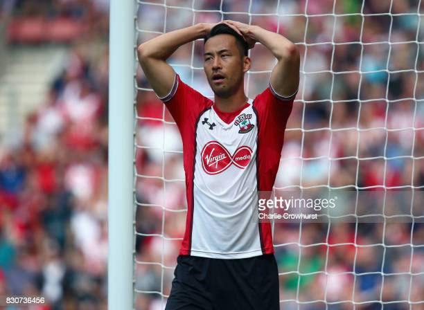 Maya Yoshida of Southampton holds his head in his hands in dejected during the Premier League match between Southampton and Swansea City at St Mary's...