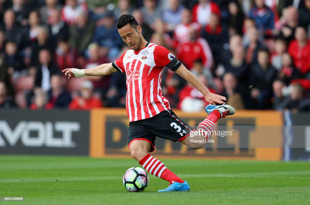 Maya Yoshida of Southampton in action during the Premier League match between Southampton and AFC Bournemouth at St Mary's Stadium on April 1, 2017 in Southampton, England.