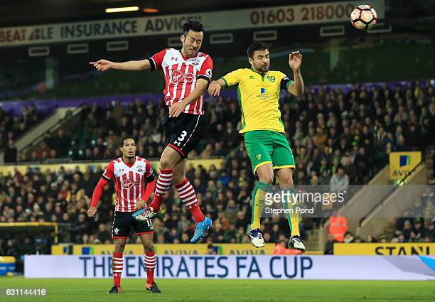 Maya Yoshida of Southampton scores his sides second goal during the Emirates FA Cup Third Round match between Norwich City and Southampton at Carrow...