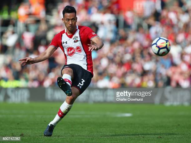 Maya Yoshida of Southampton takes a freekick during the Premier League match between Southampton and Swansea City at St Mary's Stadium on August 12...