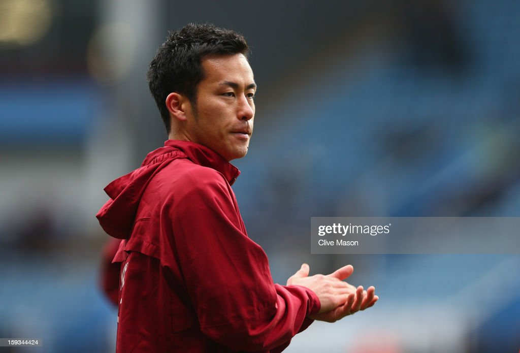 Maya Yoshida of Southampton warms up before the Barclays Premier League match between Aston Villa and Southampton at Villa Park on January 12, 2013 in Birmingham, England.