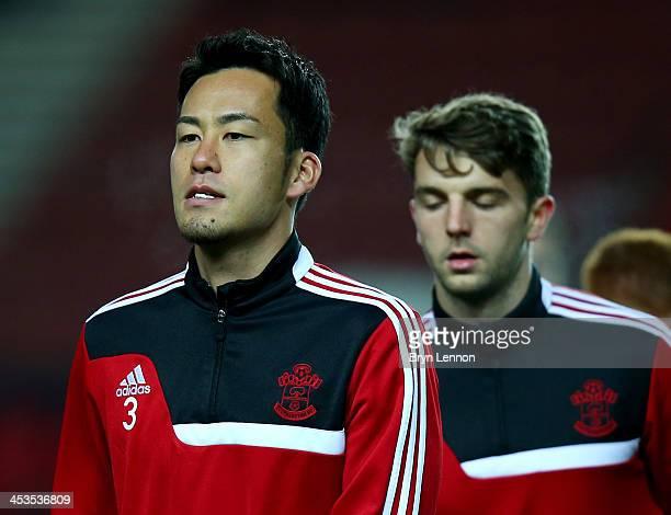 Maya Yoshida of Southampton warms up with Jay Rodriguez of Southampton prior to the Barclays Premier League match between Southampton and Aston Villa...