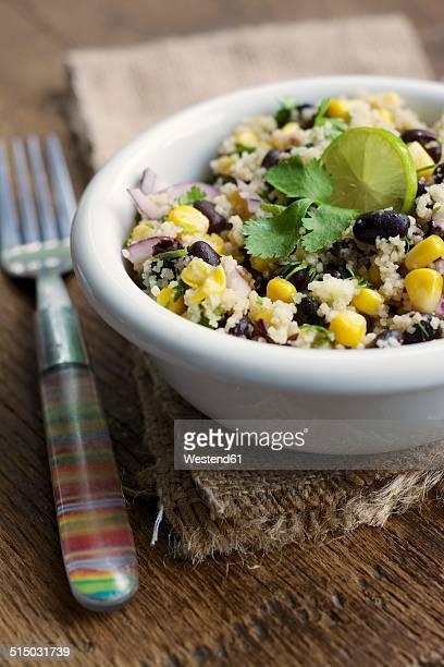 Mayan couscous salad with couscous, black beans, corn, cilantro, red onion, jalapeno