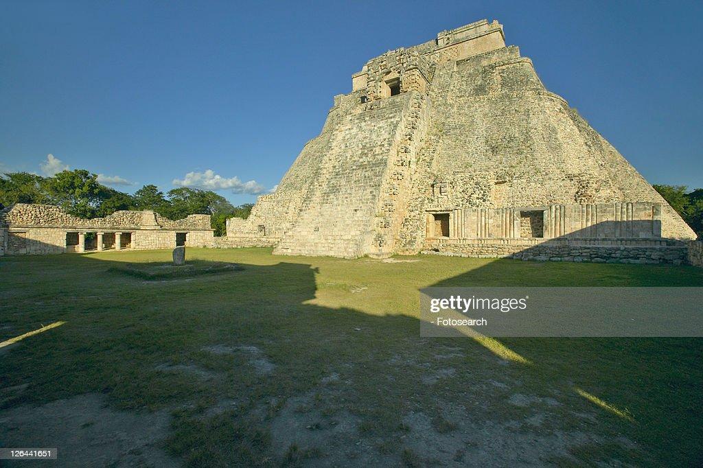 Mayan ruin and Pyramid of Uxmal at sunset in the Yucatan Peninsula, Mexico : Stock Photo