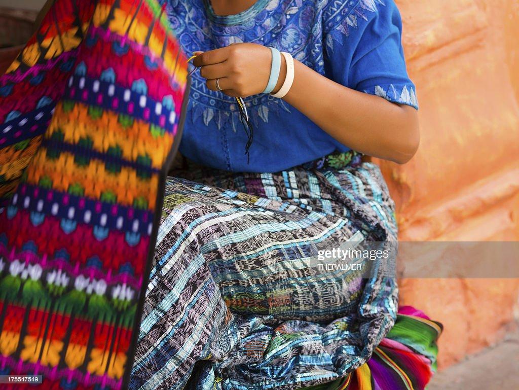 mayan woman weaving on loom