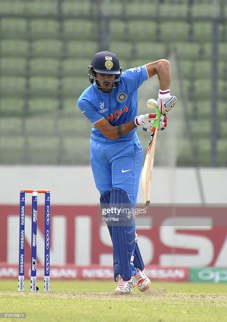 Mayank Dagar of India bats during the ICC U19 World Cup Final Match between India and West Indies on February 14, 2016 in Dhaka, Bangladesh.