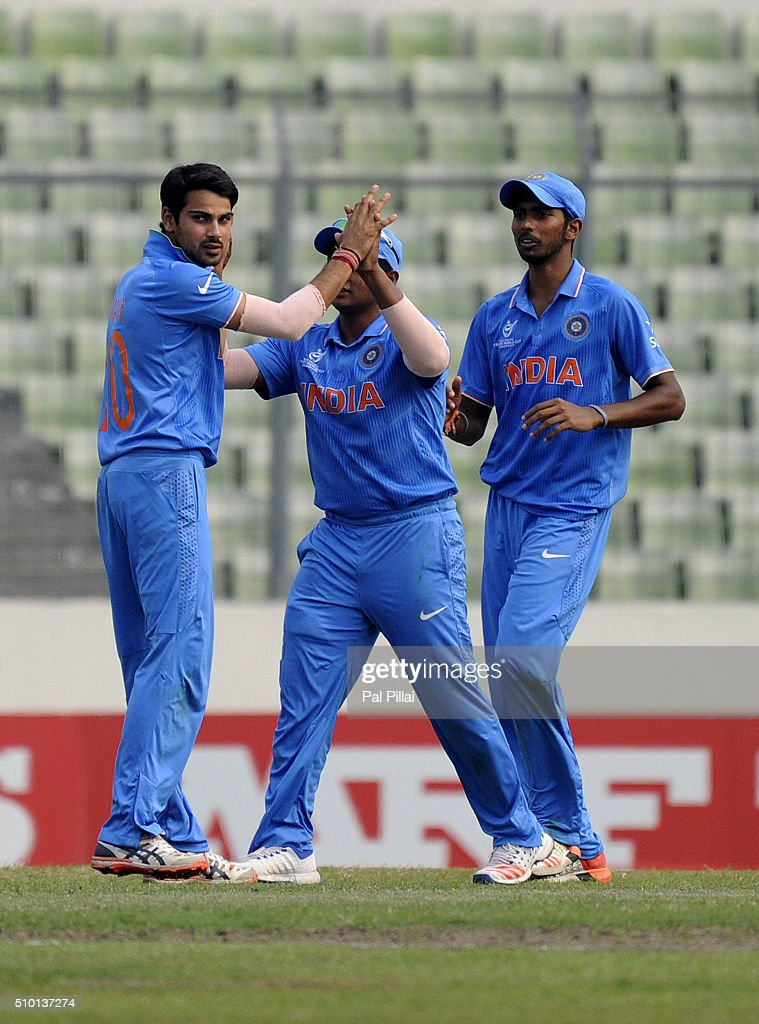 Mayank Dagar of India celebrate the wicket of Shimron Hetmyer of West Indies U19 during the ICC U19 World Cup Final Match between India and West Indies on February 14, 2016 in Dhaka, Bangladesh.