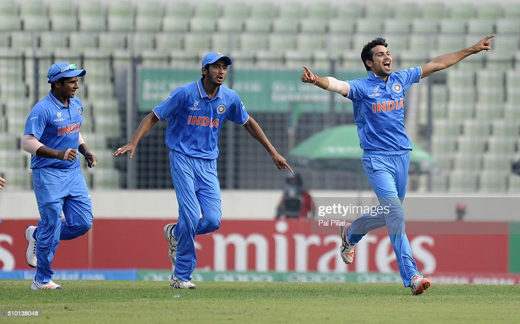 Mayank Dagar of India celebrates the wicket of Jyd Goolie of West Indies U19 during the ICC U19 World Cup Final Match between India and West Indies on February 14, 2016 in Dhaka, Bangladesh.