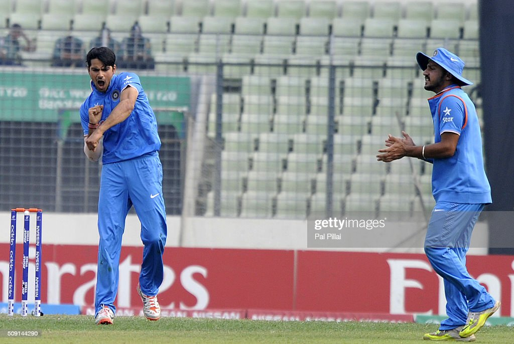 Mayank Dagar of India celebrates the wicket of Kamindu Mendis of Sri Lanka during the ICC U19 World Cup Semi-Final match between India and Sri Lanka on February 9, 2016 in Dhaka, Bangladesh.