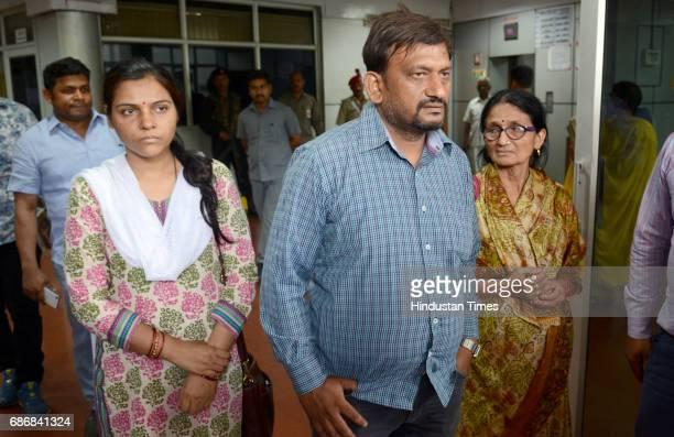 Mayank Tewari younger brother of deceased IAS officer Anurag Tewari mother Sushila Tewari and sisterinlaw Subhra Tewari met the Chief Minister Yogi...