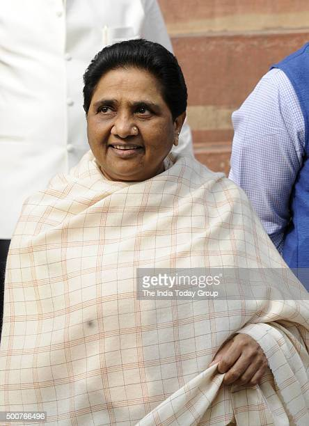 Mayawati at the Parliament during the winter session in New Delhi