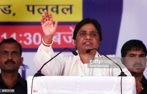 Mayawati Kumari of the Bahujan Samaj Party and Chief Minister of Uttar Pradesh state addresses her supporters during a political rally on April 6...