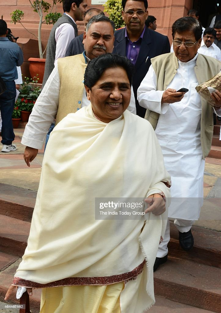 Mayawati on the first day of budget session in New Delhi.