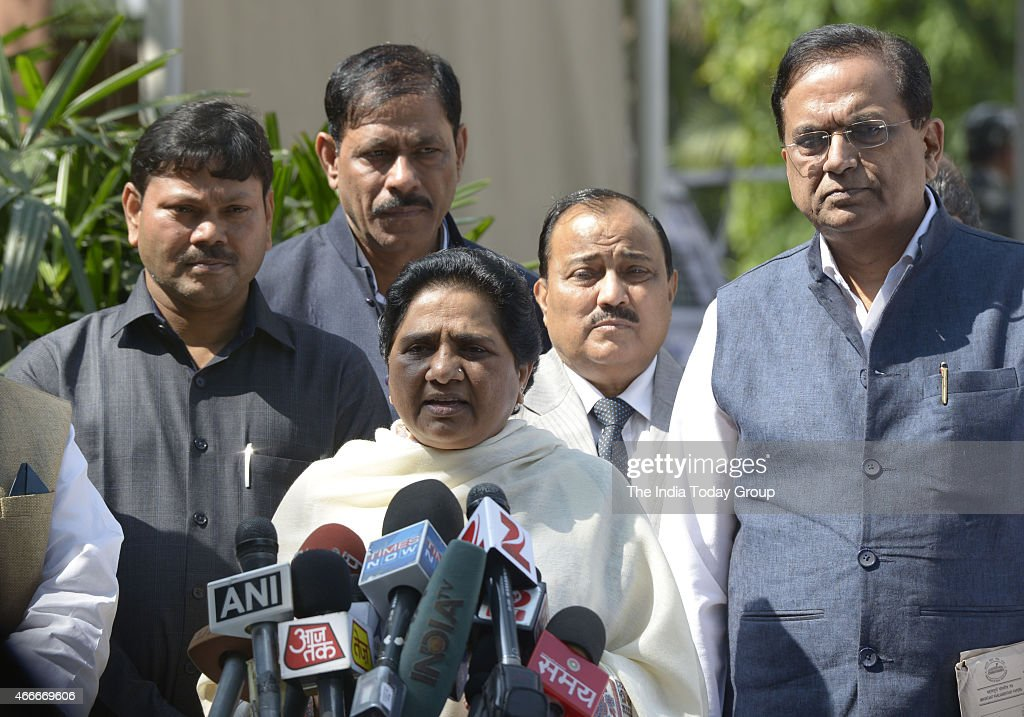 Mayawati talking to media at parliament during parliament budget Session on 17 mar 2015 in New Delhi.