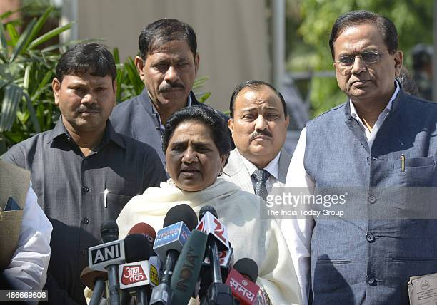 Mayawati talking to media at parliament during parliament budget Session on 17 mar 2015 in New Delhi