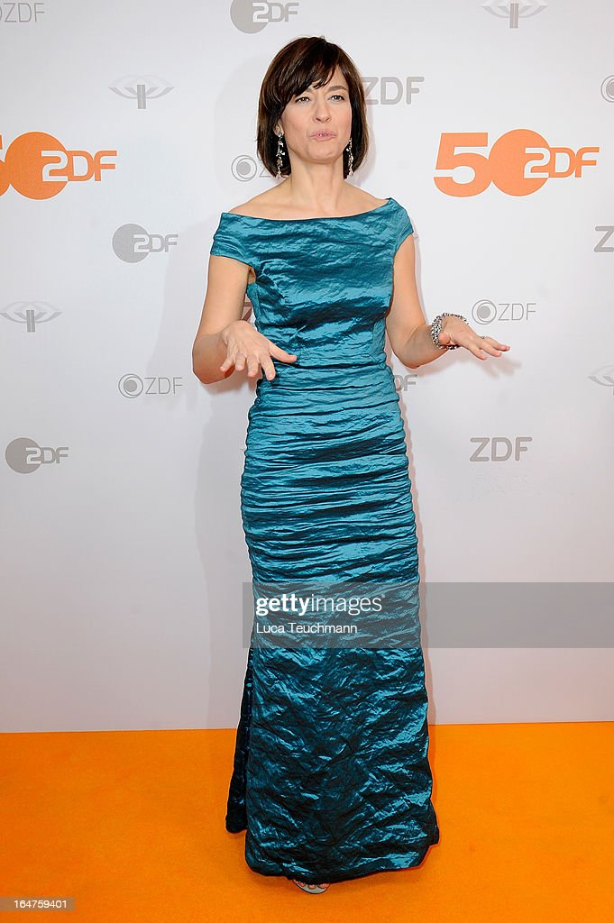 Maybrit Illner poses on March 27, 2013 after a taping of one of the segments of the television program '50 Jahre ZDF' (50 Years of ZDF) in Berlin, Germany. The television network ZDF, known for its TV programs 'heute' and 'Wetten Dass..?' was founded in 1961 and is celebrating its 50th birthday with the broadcast of an anniversary show.