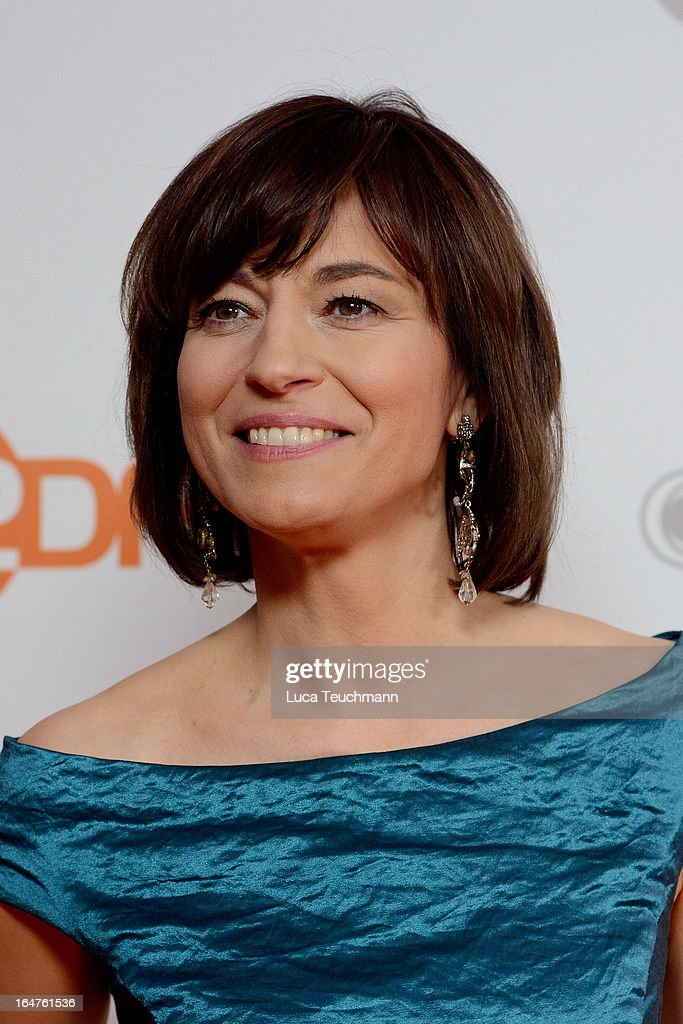 Maybrit Illner poses on March 27, 2013 after a taping of one of the segments of the television program '50 Jahre ZDF' (50 Years of ZDF) in Berlin, Germany. The television network ZDF, known for its TV programs 'heute' and 'Wetten Dass..?' was founded in 1961 and is celebrating its 50th birthday with the broadcast of an anniversary show. )