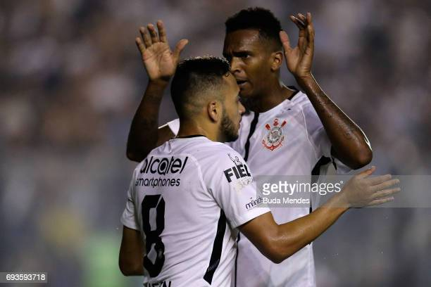 Maycon and Jo of Corinthians celebrate a scored goal against Vasco during a match between Vasco and Corinthians as part of Brasileirao Series A 2017...
