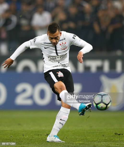 Maycon of Corinthians in action during the match between Corinthians and Santos for the Brasileirao Series A 2017 at Arena Corinthians stadium on...